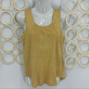 Lucky brand embroidered mustard yellow tank top